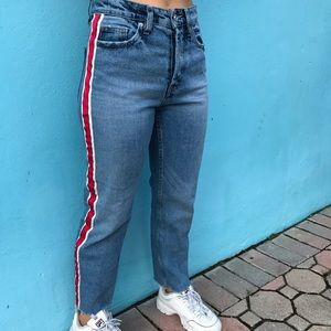 """Authentic Denim By TRF"" Zara red striped jeans!"